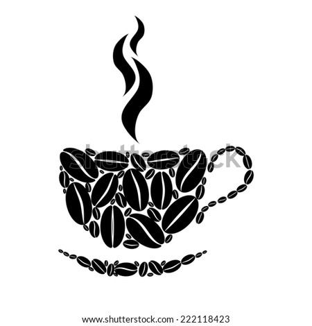 Cup of coffee. Black and white concept.  - stock photo