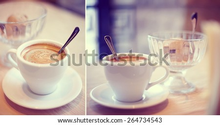 Cup of coffee cappuccino and dessert in cafe - stock photo