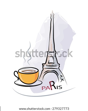 Cup of coffee in a Paris cafe - stock photo