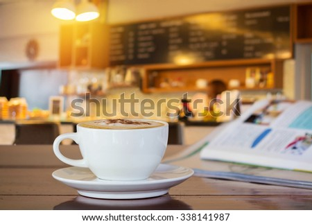 cup of coffee in coffee shop. - stock photo