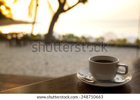 Cup Of Coffee in morning light - stock photo