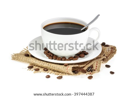 cup of coffee isolated - stock photo