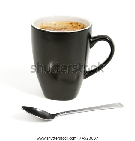 cup of coffee isolated on a white background - stock photo