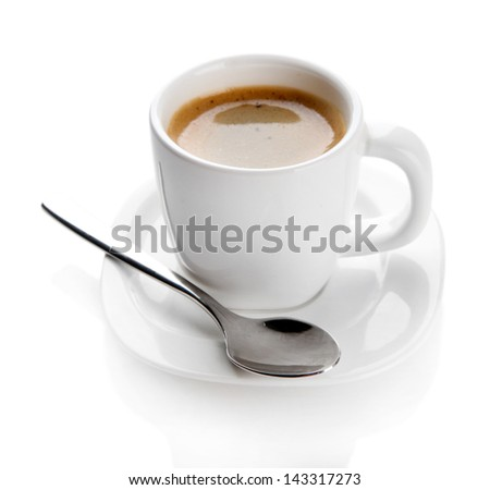Cup of coffee, isolated on white - stock photo