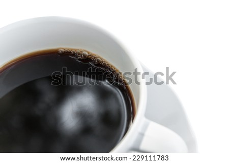 Cup of coffee isolated on white background - stock photo
