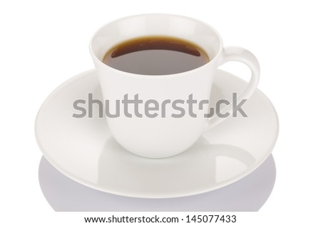 Cup of coffee isolated on white background close up. - stock photo