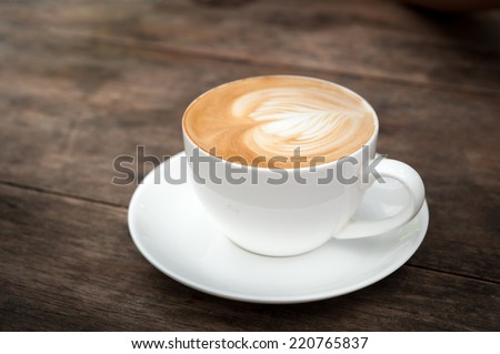 cup of coffee ,latte art heart - stock photo
