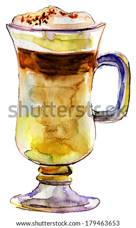 Cup of Coffee Latte. Watercolor illustration - stock photo