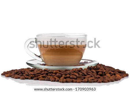Cup of coffee latte with coffee beans - stock photo