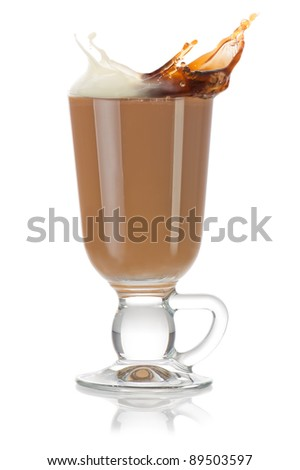 Cup of coffee. Milk and black coffee splashing and mixing into cappuccino on white background - stock photo