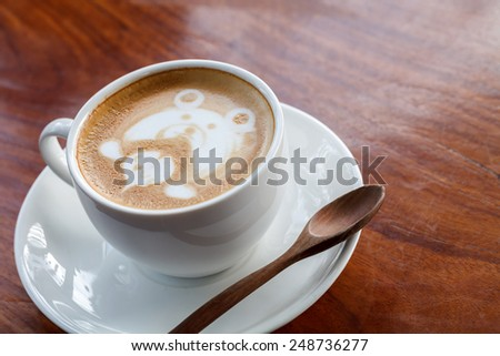 cup of coffee mocha on wooden  - stock photo