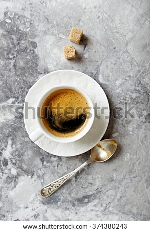 Cup of coffee on a stone background - stock photo