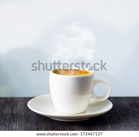 Cup of coffee on highlands background. - stock photo
