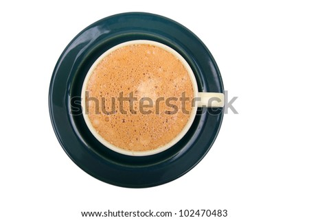 cup of coffee on saucer - stock photo