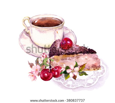 Cup of coffee or tea and chocolate cake with cherry fruits and flowers. Watercolor - stock photo
