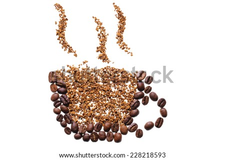Cup of coffee shape made of coffee beans, isolated on white background - stock photo