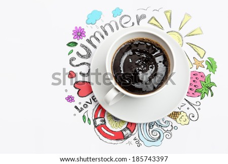 Cup of coffee summer vacation planning concept - stock photo