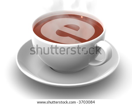 Cup of coffee with a symbol of the internet. 3d - stock photo