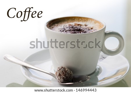 Cup of coffee with a thick cream - stock photo