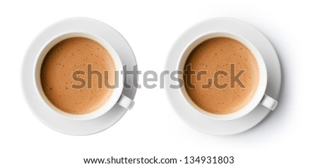 cup of coffee with beautiful foam isolated on white, top view - stock photo