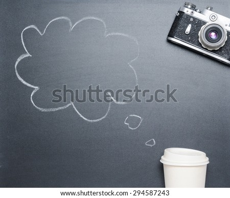 cup of coffee with drawing idea on the blackboard from the top view, happy morning concept - stock photo