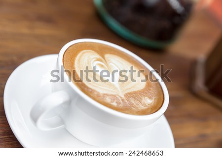 Cup of coffee with Love, latte art - stock photo