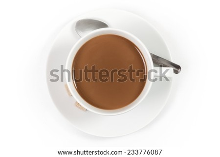 Cup of coffee with milk with spoon isolated on white background, top view - stock photo