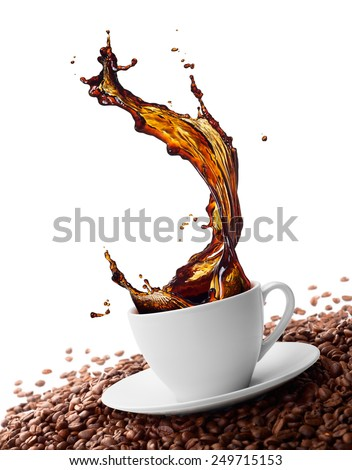 cup of coffee with splash surrounded by coffee beans - stock photo