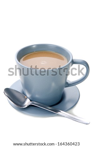 Cup of Coffee with spoon isolate on white background .  - stock photo