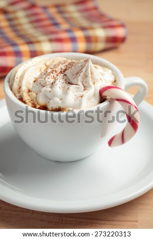 Cup of coffee with whipped cream, candy cane, and cinnamon - stock photo