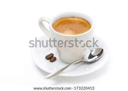 cup of espresso, isolated on white - stock photo
