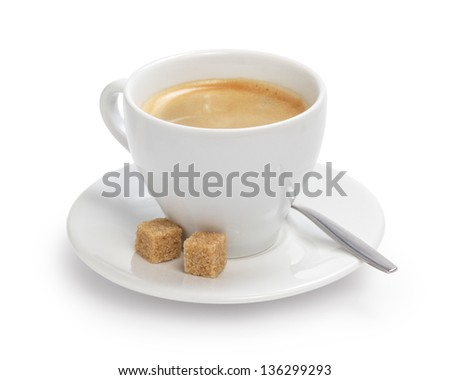 cup of espresso with cane sugar and spoon, isolated on white background - stock photo