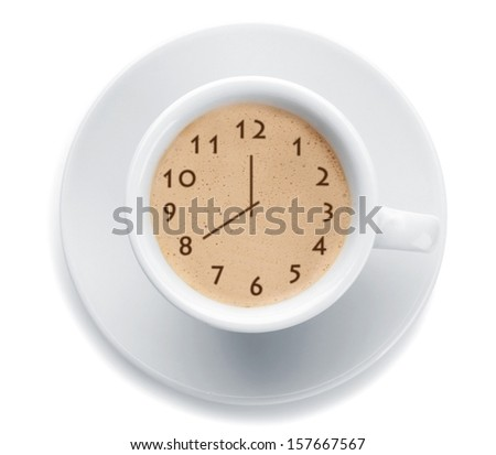 Cup of fresh coffee with clock sign - stock photo