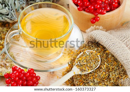 cup of herbal tea, medicinal herbs and healthy berries on table - stock photo