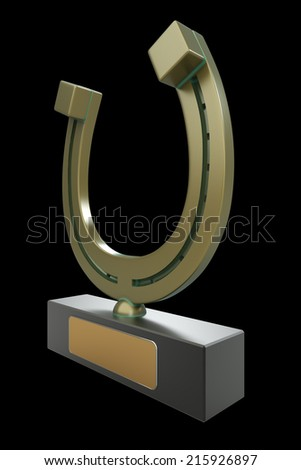 cup of horseshoe. realistic. isolated on black background. 3d illustration - stock photo