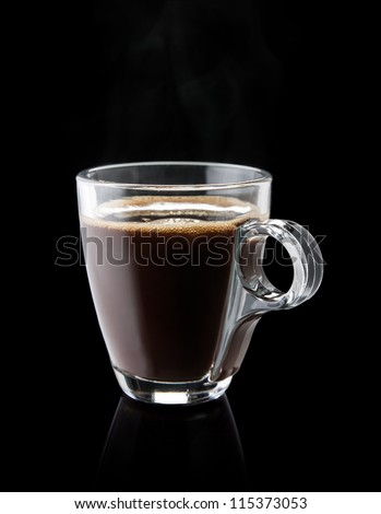 cup of hot coffee on black background - stock photo