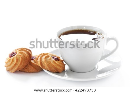 Cup of hot tea and homemade cookies on white background - stock photo