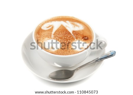 Cup of latte on a white background - stock photo