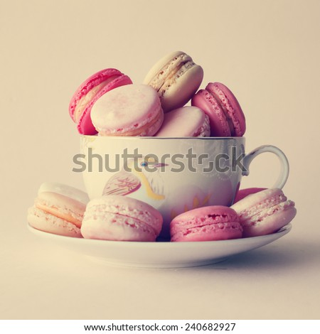 Cup of macaroons - stock photo