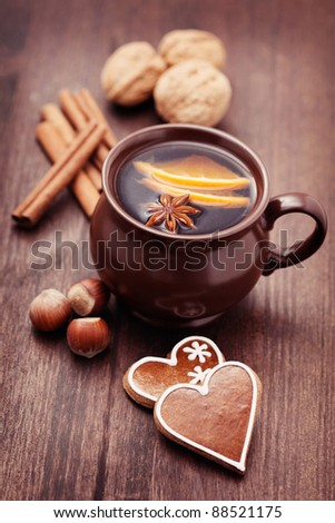 cup of mulled wine with spices - food and deink - stock photo