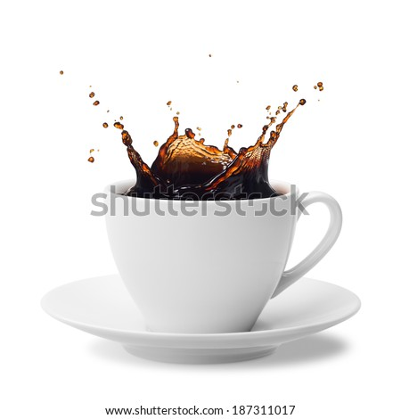 cup of splashing coffee isolated on white - stock photo