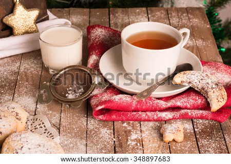 Cup of Tea and Cookies.  - stock photo