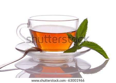 Cup of tea and mint - stock photo
