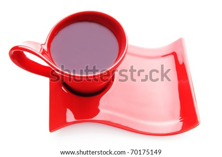 Cup of tea isolated on the white - stock photo