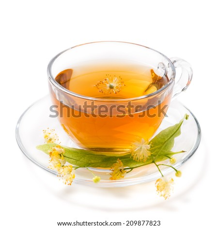Cup of tea of linden, isolated on white background - stock photo