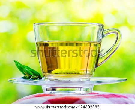 Cup of tea on nature background. - stock photo