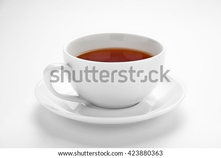 Cup of tea  on white background - stock photo