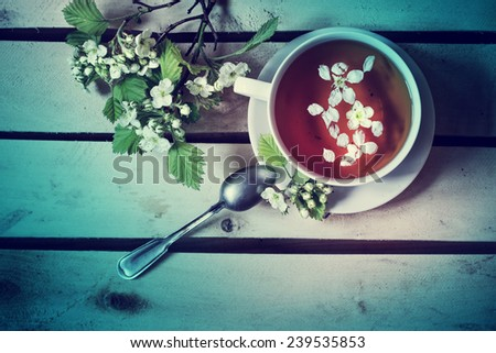 cup of tea with flowering branches apricots on wooden background  - stock photo