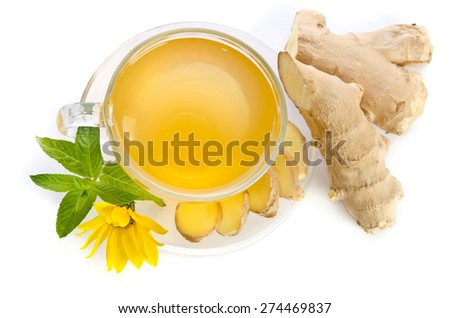 Cup of tea with  ginger slices and  Echinacea flower near isolated on  white background - stock photo