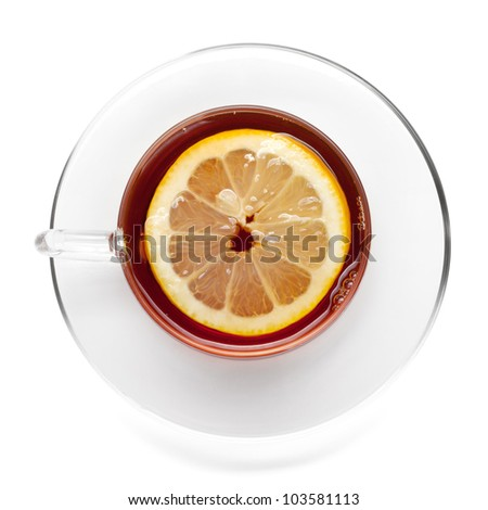 Cup of tea with lemon slice. View from above. Isolated on white background - stock photo
